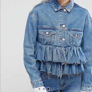 ASOS Denim Crop Jacket with Ruffle Hem